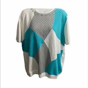 Alfred Dunner Diamond Pattern Sweater.